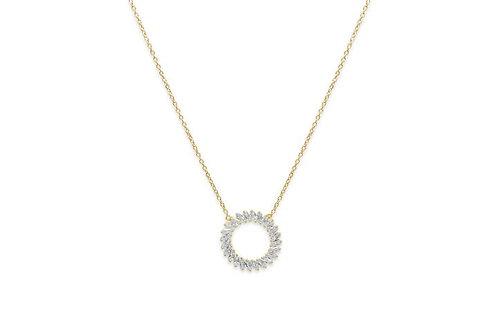 Agavero Gold CZ Disc Necklace