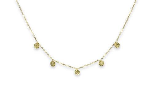 Sauterns Gold Battered Disc Necklace