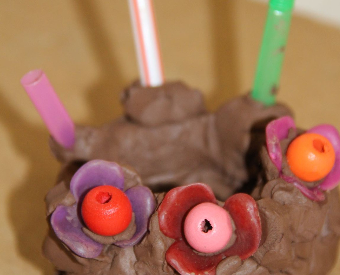 Clay cake and candles