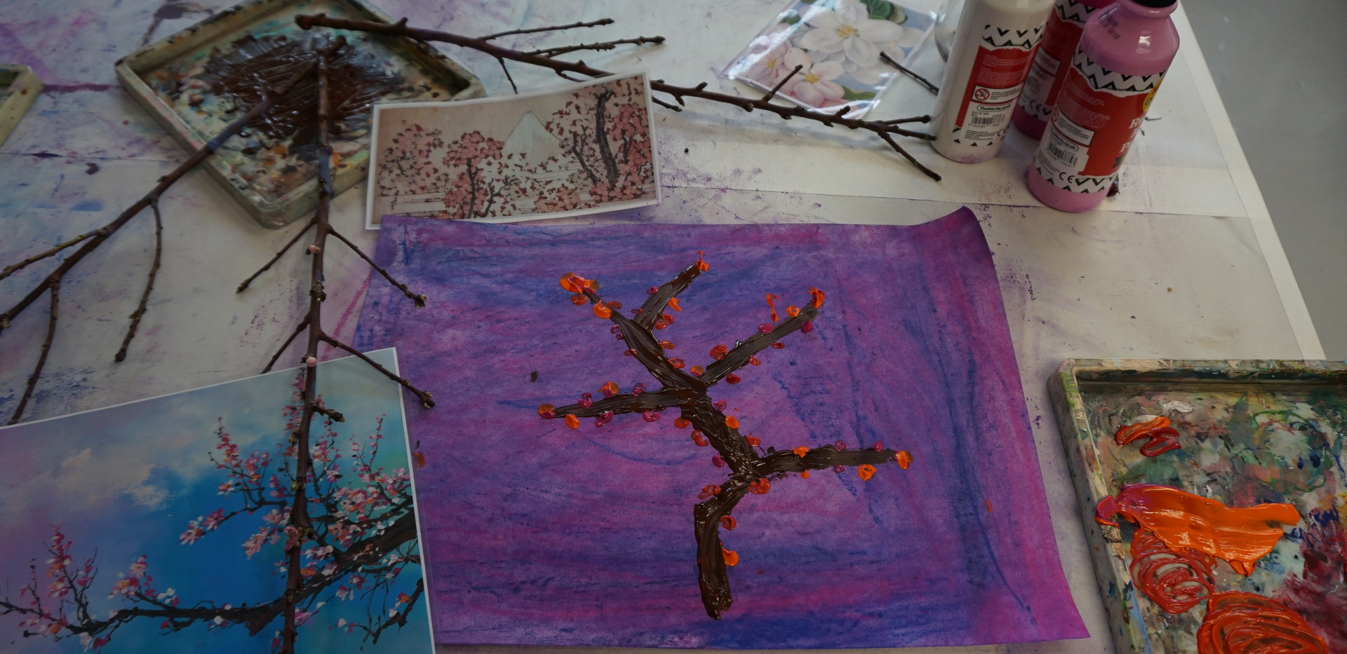 Stick painting on pastel (age 7)