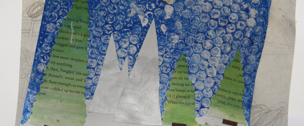 Magical winter landscape, print and collage (age 8)