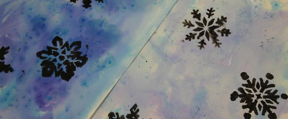 Snowflake stencilling (age 9)
