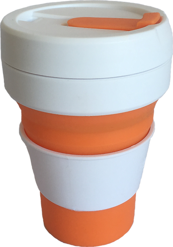 Stojo Orange Reusable Collapsible Silicone Cup