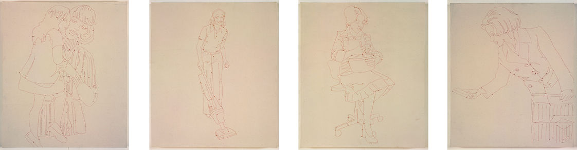 Ghada Amer Cinq Femmes Au Travail, 1991 Embroidery on canvas in 4 parts 24 3/4 x 21 3/4 inches 62.9 x 55.2 cm (GHA.16680) Courtesy of the artist and Marianne Boesky Gallery, New York and Aspen. © Ghada Amer.