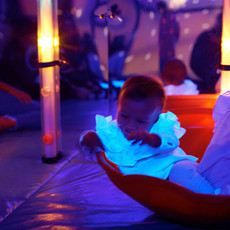 Rock around in the space sensory room in Head Over Heels Play Chorlton