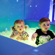 Babies and Toddlers Sensory Room with bubble tubes and glowing ball pool