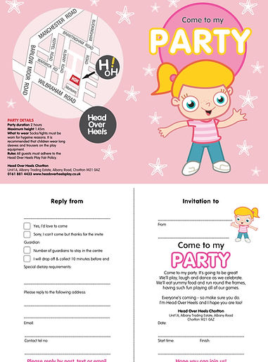 Head Over Heels Pink Party Invite Chorlt