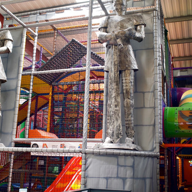 Meet the giant knights on the play frame at Head Over Heels Chorlton