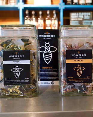 Our fair trade teas and coffees are supplied by Worker Bee MCR which donates 10 % of wholesale sales to charities We Love MCR and Forever Manchester who work to support the local community.