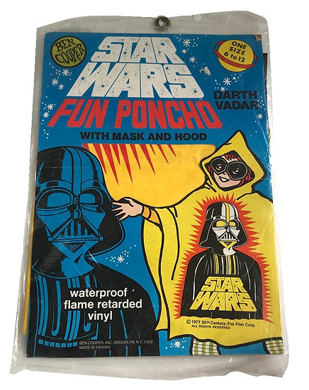 1977 Star Wars Darth Vader Fun Poncho With Mask And Hood [New Sealed]