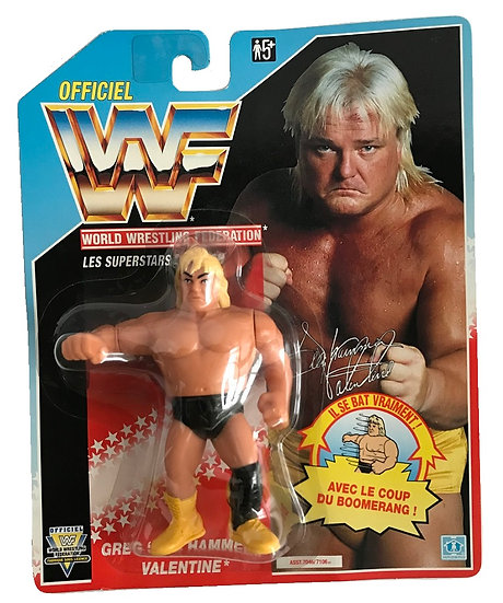 1991 Hasbro WWF Greg Valentine is MOC and is a French Variant.