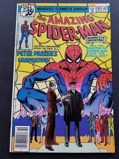 Amazing Spider-Man 185 VF-. Peter Parker graduates.