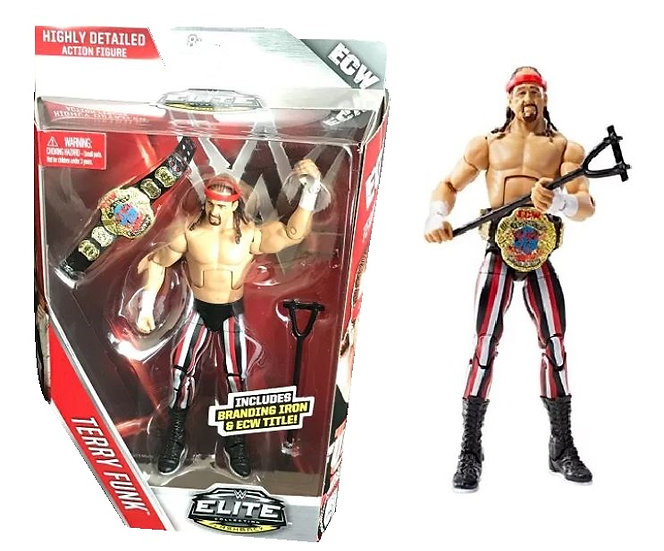 WWE Elite Collection Flashback Terry Funk Action Figure Includes Branding Iron A