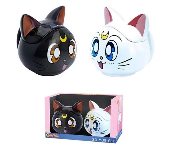 Sailor Moon Luna and Artemis 3D Mugs Gift Set