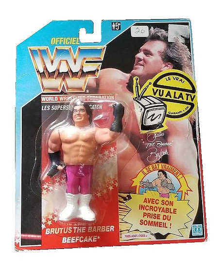 1991 Hasbro WWF Brutus The Beefcake Barber Foreign Variant is MOC.