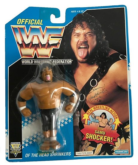 1993 Hasbro WWF Samu Of The Head Shrinkers is MOC.