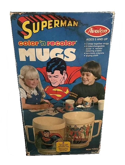 Superman Color'n Recolor Mugs - Avalon 1978 Open Box ,Complete
