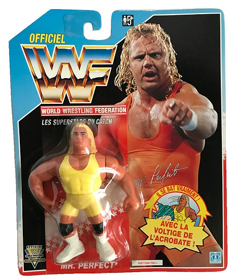 1991 Hasbro WWF Mr. Perfect Valentine is MOC and is a French Variant.