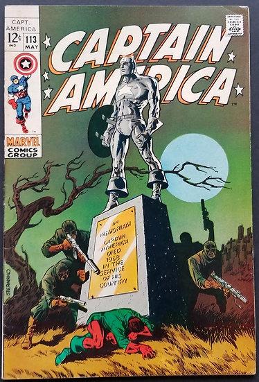 Captain America (1968 1st Series) #113 FN/VF Classic Steranko cover.