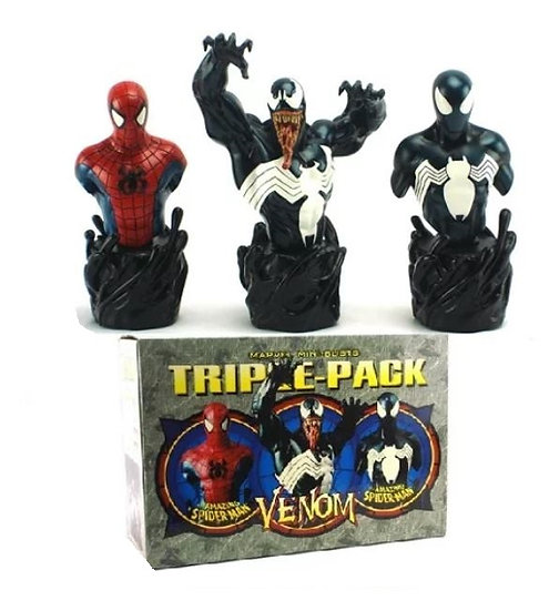 Bowen Designs Venom The Amazing Spider Man Triple Pack Mini Busts 2002 Marvel