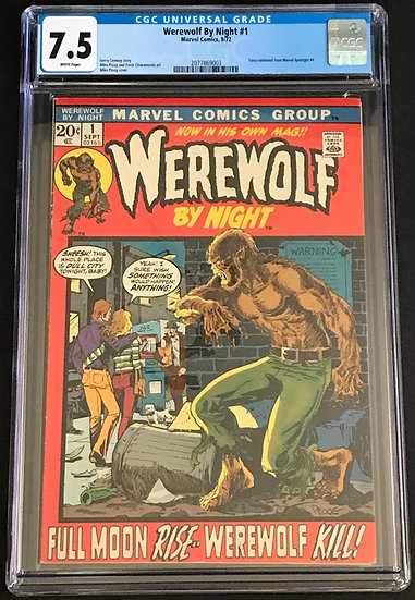 Werewolf By Night 1 CGC 7.5 White Pages