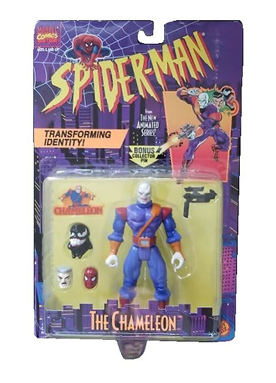 1995 Toy Biz Spider-Man Animated Series Chamelon is mint on the card.