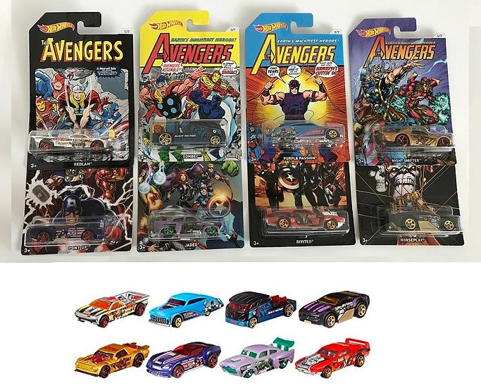 Hot Wheels Marvel The Avengers Heroes Complete Set Of 8 - Asst. FKD48 New Sealed