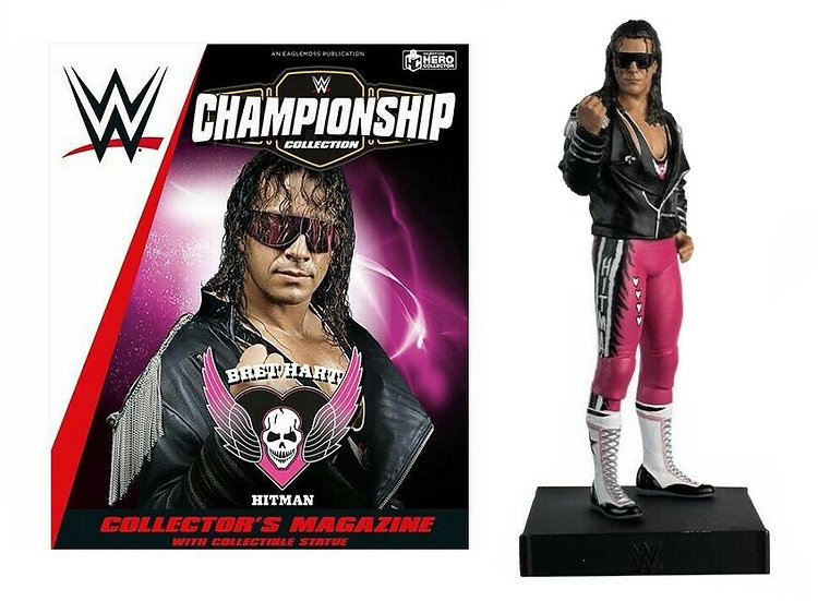 WWE Championship Collection Bret Hart Statue with Collector Magazine