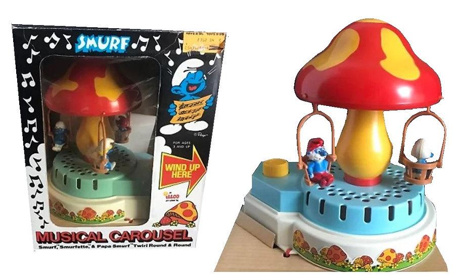 Vintage Peyo 1983 Smurf Musical Swing Carousel Merry Go Round Papa Smurfette