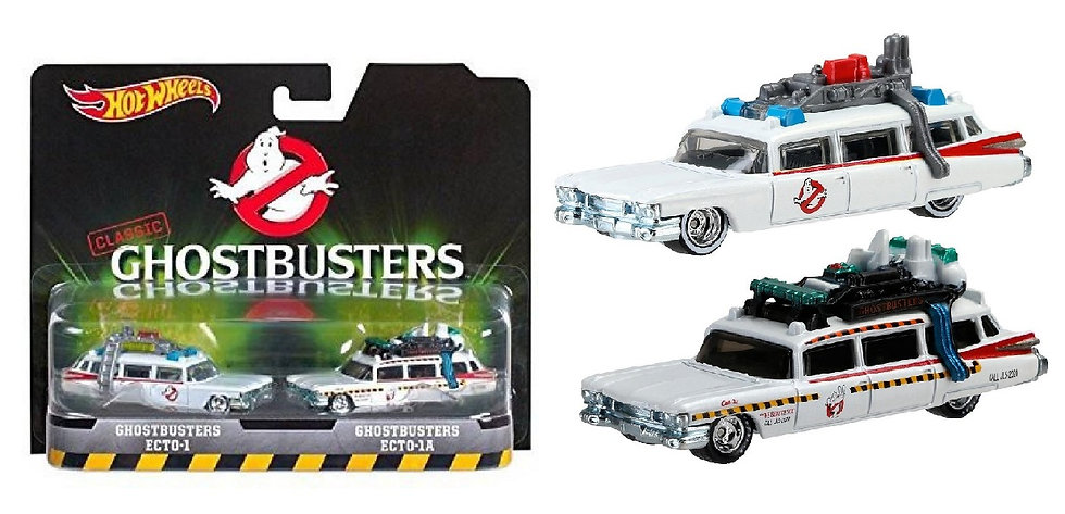 2015 Hot Wheels Ghostbusters 1:64 Scale Diecast Ecto 1 And Ecto1A Twin Pack