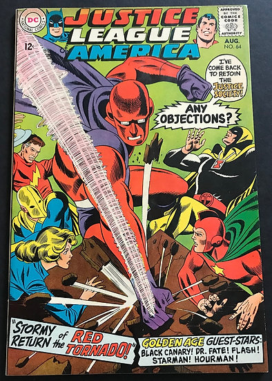 Justice League Of America 64 VF/NM. 1st appearance of Red Tornado.
