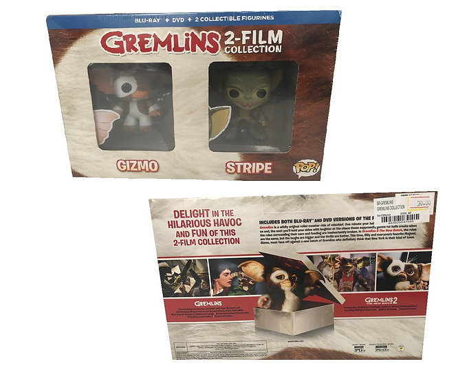 Gremlins 2 Film Collection 2 Blu Ray pack with 2 Funko Pops Vinyl.