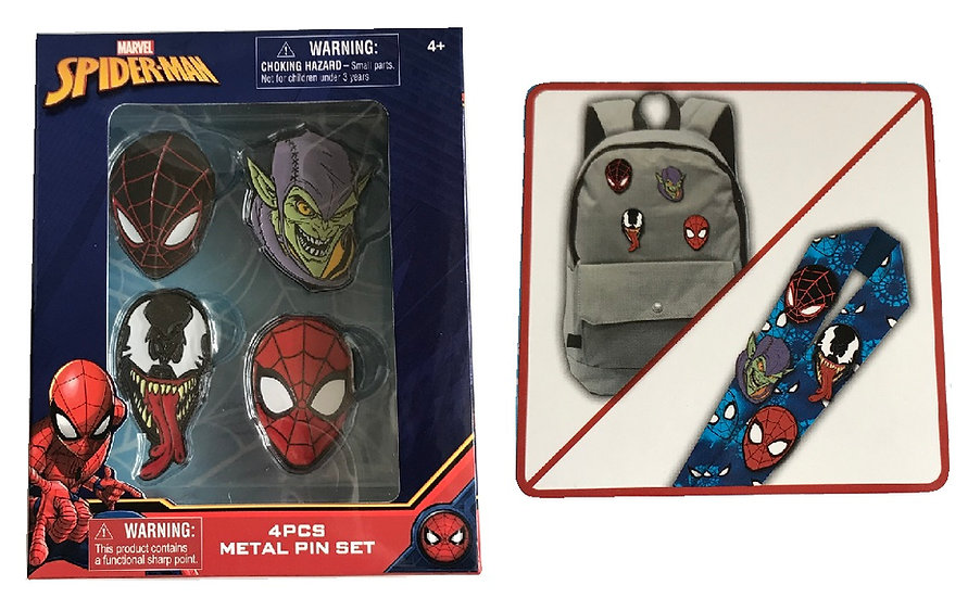 Spider-Man 4 Pcs Metal Pin Set [Venom,Green,Goblin,Miles Morales]