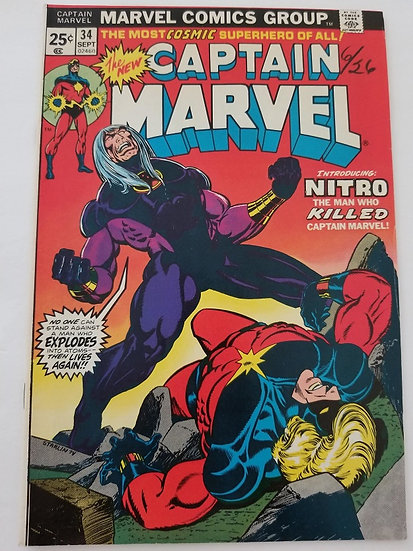 Captain Marvel 34 VF 1st Appearance of Nitro, Captain Marvel gets cancer