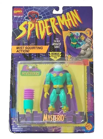 1995 Toy Biz Spider-Man Animated Series Mysterio is mint on the card.