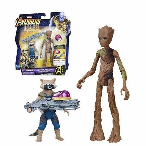 Avengers Marvel Infinity War Rocket Raccoon and Groot with Infinity Stone