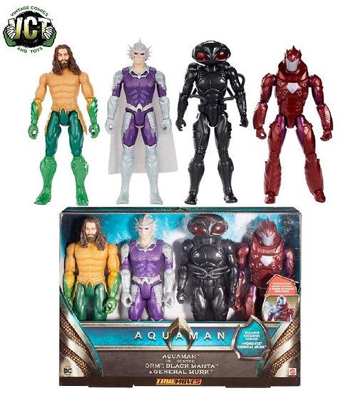 Aquaman True Moves 4 Pack of 12 inch Aquaman , Orm, Black Manta, General Murk