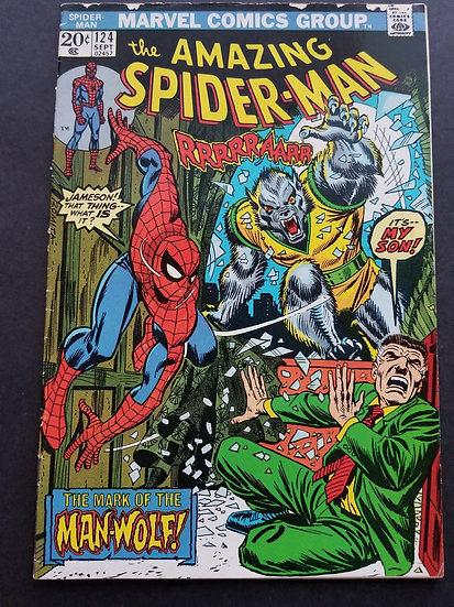 Amazing Spider-Man 124 VG. 1st Appearance Man-Wolf.