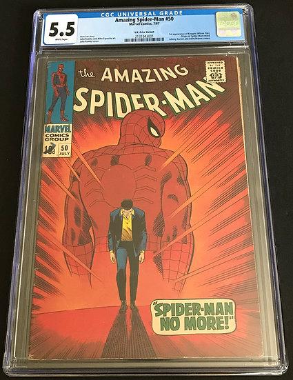 Amazing Spider-Man #50 CGC 5.5 White Pages [U.K. Price Variant]