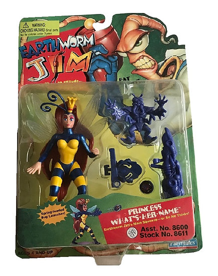 1994 Earthworm Jim Princess What's-Her-Name With Runt Zurb Figure