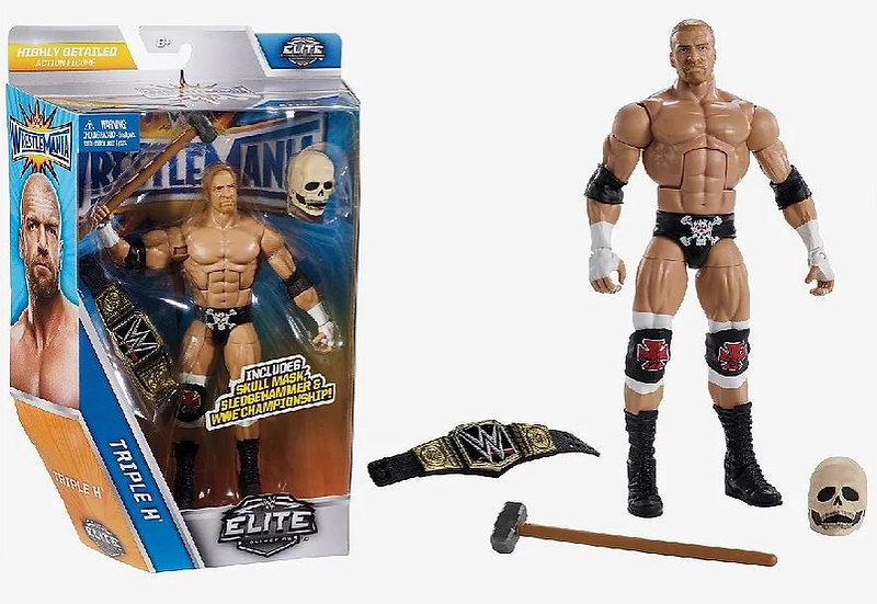 WWE Elite Wrestlemania Triple H Series 33 (Skull Mask, WWE Belt and Hammer) MISB