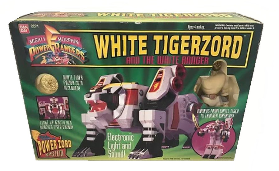 Vintage Mighty Morphin Power Rangers White Tigerzord And The White Ranger No.227
