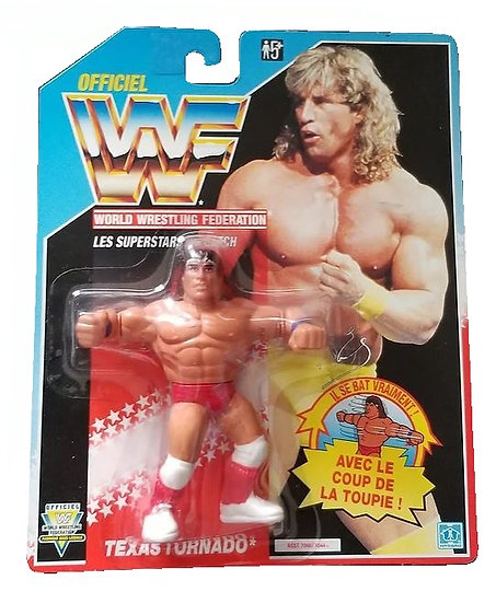 1991 Hasbro WWF Texas Tornado is MOC and is a French Variant.