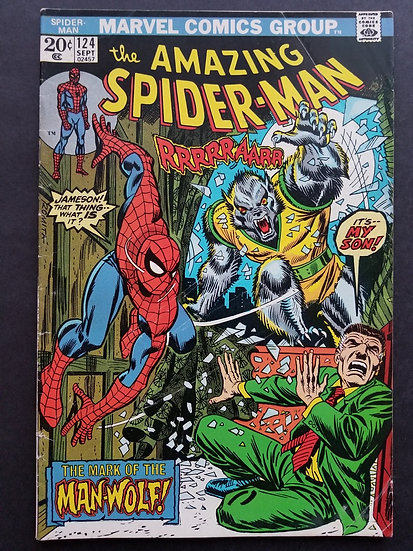 Amazing Spider-Man 124 VG/FN. 1st appearance Man-Wolf.