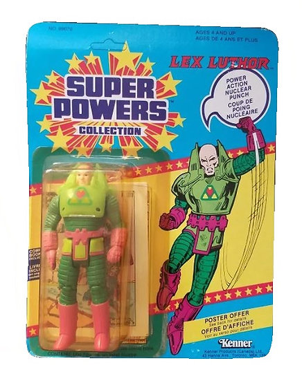 1985 Kenner Super Powers Lex Luthor French Canadian is mint on the card.