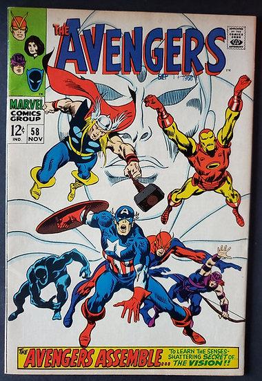 Avengers (Marvel ) #58 VF- [Origin of vision joins]
