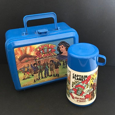 1990 Captain Planet Lunch Box With Thermos By Aladdin Tbs Production Used