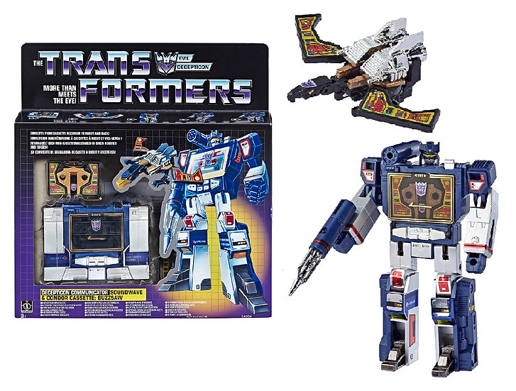 Transformers Reissued Vintage G1 Soundwave and Buzzsaw Collectible Figures