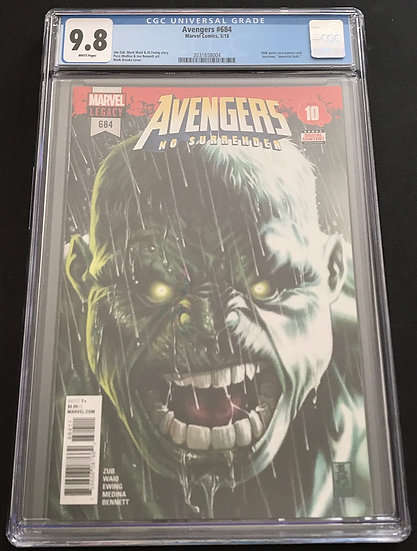 Avengers 684 CGC 9.8 White Pages 1st appearance of the Immortal Hulk.
