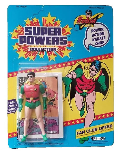1984 Kenner Super Powers Robin Karate Chop is mint on the card.